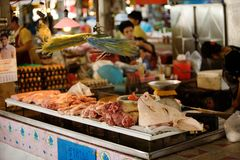 Asian meat market Royalty Free Stock Photo