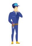 Asian mechanic thinking vector illustration Royalty Free Stock Images
