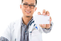 Asian medical showing business card Stock Photography