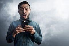 Asian men surprised on smoke background. Asian man surprised on smoke background Stock Photos
