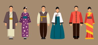 Asian men and women in national costumes. Vector illustration Stock Images