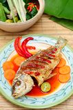 Asian menu of deep fried fish Stock Photography