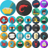 Asian menu flat round icons collection. Set of 30 flat color design icons for seafood and asian food. Sushi set, serving, prepared fish, shellfish, exotic food Royalty Free Stock Images
