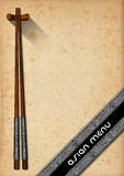 Asian Menu with Wooden Chopsticks Stock Images