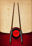 Asian Menu with Wooden Chopsticks Royalty Free Stock Images