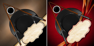 Asian Menu with Wooden Chopsticks. Two templates for an Asian menu with wooden chopsticks, black plate and a bowl of sauce. On a brown and red backgrounds with Stock Image