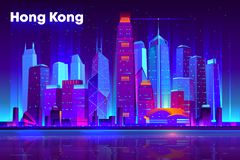 Asian metropolis nightlife cartoon vector banner. Hong Kong city nightlife cartoon vector banner, poster template. Modern asia metropolis downtown futuristic royalty free illustration