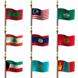 Asian and Middle Eastern Flags. 3D Computer Render of Asian and Middle Eastern Flags royalty free illustration