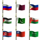 Asian and Middle Eastern Flags. 3D Computer Render of Asian and Middle Eastern Flags vector illustration