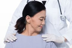 Asian Middle 60s age Woman Patient check up health royalty free stock photography