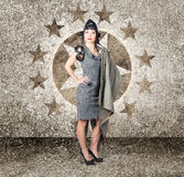 Asian military pinup girl in retro air force style Stock Images