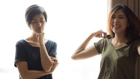 Asian mixed race woman friends listen to problems royalty free stock photo