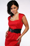 Asian model. With pearls and a red dress Royalty Free Stock Photos