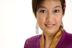 Asian Model 5. An asian girl wearing a traditional silk jacket Royalty Free Stock Photography