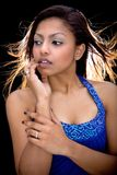 Asian model in blue sequinned top Royalty Free Stock Photo