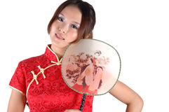 Asian model with fan Stock Photo