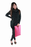 Asian model holding shopping bag Stock Images
