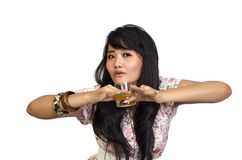 Asian Model Posing and Drinking Royalty Free Stock Photography