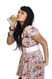 Asian Model Posing and Drinking Stock Photography