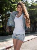Asian Model Posing in Natural Setting Stock Image