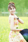 Asian model relaxing outdoor Royalty Free Stock Photography