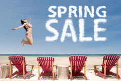Asian model with spring sale cloud Stock Photos