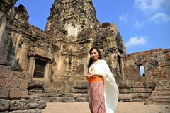Asian model in traditional Thai dress Stock Photo
