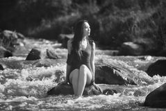 Asian model in  water Royalty Free Stock Photography