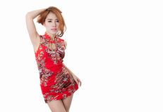 Asian model wearing Cheongsam with copy space for product or tex. T Royalty Free Stock Photography