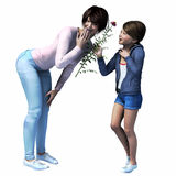 Asian Mom getting flower from daughter. Mom getting flower from  daughter for Mother's Day,  birthday or just because Stock Image