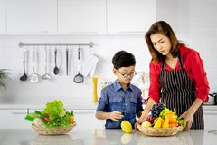 Asian mom and kid learn to store vegetables and fruits stock photos