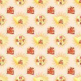 Asian money bright symmetry seamless pattern Royalty Free Stock Photo