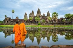 Free Asian  Monk Stand And Look To Angkor Wat In Siem Reap Royalty Free Stock Photos - 159128768