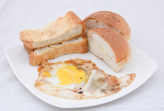 Asian morning food dish. Egg bread bun studio white background Royalty Free Stock Photography