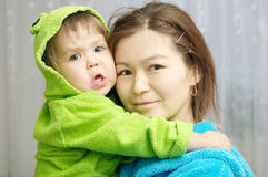 Asian mother and baby funny face Royalty Free Stock Image