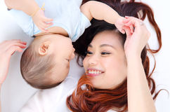Asian mother and baby royalty free stock photos