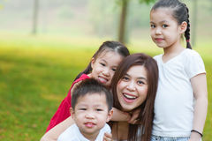 Asian mother and children stock images