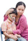 Asian mother comforts her son Royalty Free Stock Photography