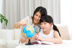 Asian mother and daughter Stock Image