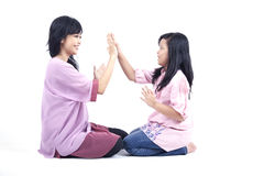 Asian mother and daughter play together. Happy mother and daughter spending time together Stock Photo