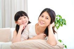 Asian mother and daughter Stock Photos