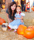 Beautiful Asian Mother and Daughter at a Halloween Royalty Free Stock Images