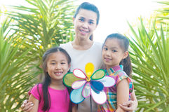 Asian mother and daughters Stock Photo