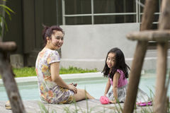 An asian mother and her daughter Stock Photo