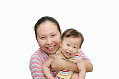 Asian mother holding adorable child baby girl Stock Images
