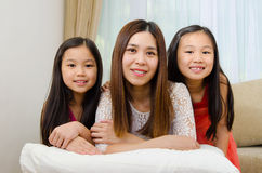 Asian mother and kids Stock Image