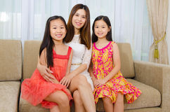 Asian mother and kids Royalty Free Stock Images