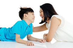 Asian mother and son Stock Photos