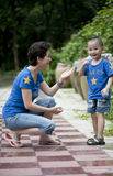 Asian mother and son play. Love in mother and son,smile Royalty Free Stock Photo