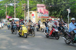 Asian motorbike crazy traffic on the street Stock Photo